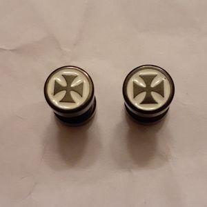 Mens black dumbbell earrings
